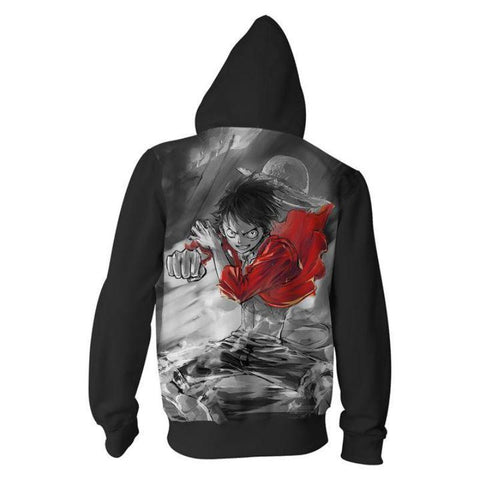 One Piece Angry Luffy Hoodies -  Zip Up Awesome Hoodie