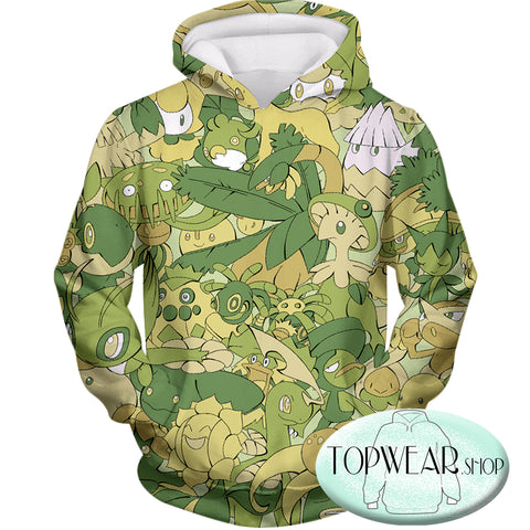 Pokemon Hoodies - All in One Grass Type Pokemons Zip Up Hoodie