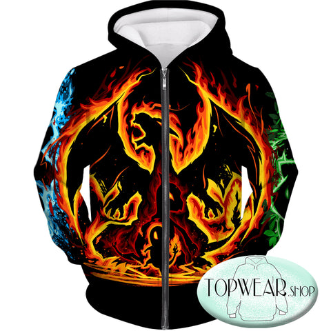 Image of Pokemon Hoodies - Fire Type Charmander Evolution Tree 3D Zip Up Hoodie