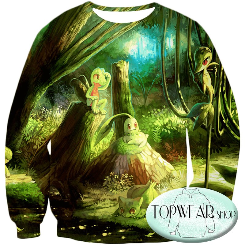Pokemon Sweatshirts - Treecko and Chikorita Cool 3D Sweatshirt
