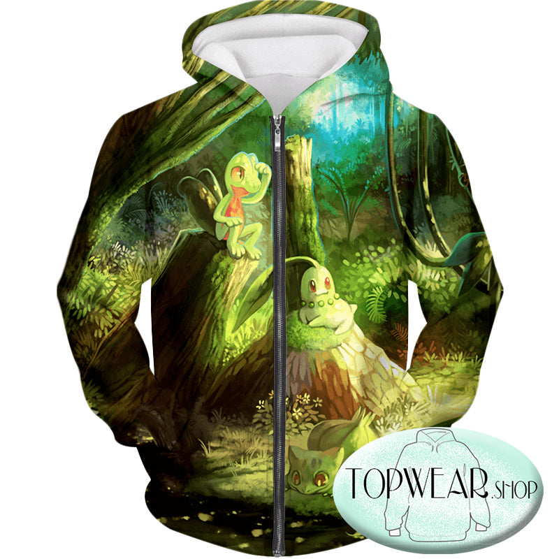 Pokemon Hoodies - Treecko and Chikorita Cool 3D Hoodie