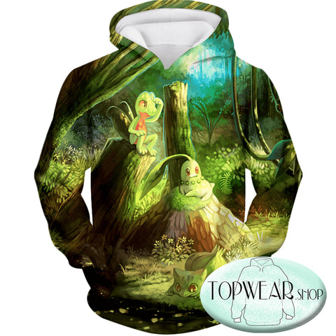 Image of Pokemon Sweatshirts - Treecko and Chikorita Cool 3D Sweatshirt