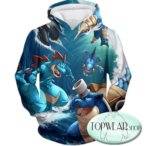 Pokemon Hoodies - All Powerful Water Type Pokemons Zip Up Hoodie