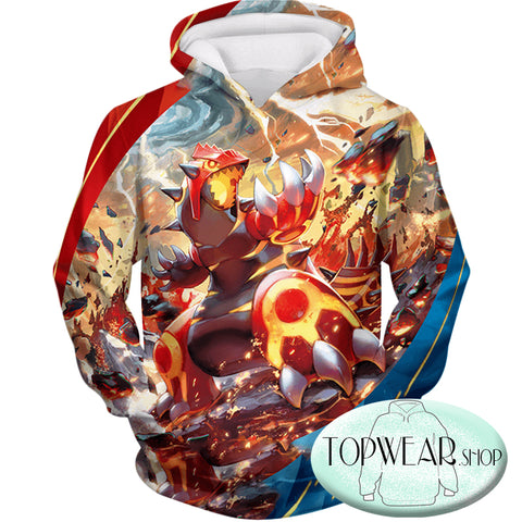 Image of Pokemon Hoodies - Legendary Red Blazing Groudon Zip Up Hoodie