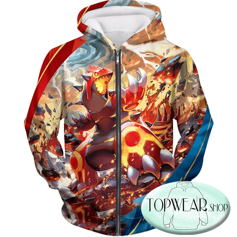 Pokemon Hoodies - Legendary Red Blazing Groudon Zip Up Hoodie