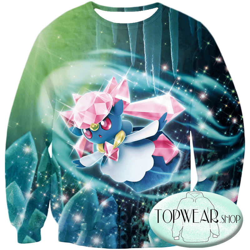 Pokemon Sweatshirts - Fairy Rock Type Pokemon Diancie Sweatshirt