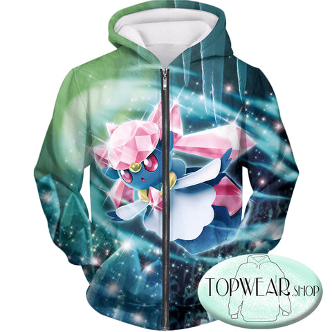Image of Pokemon Sweatshirts - Fairy Rock Type Pokemon Diancie Sweatshirt