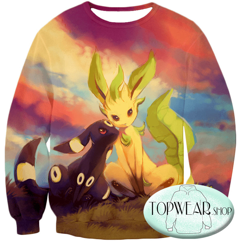Pokemon Hoodies - Cute Umbreon and Leafeon 3D Hoodie
