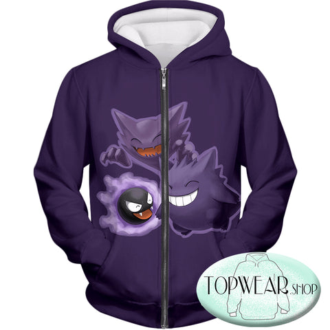 Image of Pokemon Hoodies - Ghastly Hunter and Gengar Cool Anime Hoodie