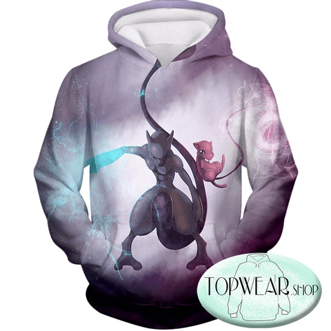 Image of Pokemon Hoodies - Pokemon Combination Mew and Mewto 3D Zip Up Hoodie