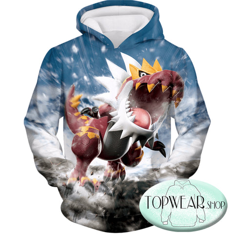 Pokemon Hoodies -  Dragon Fossil Pokemon Tyrantrum Zip Up Hoodie