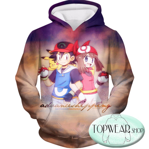 Image of Pokemon Hoodies - Trainers Ash and May Zip Up Hoodie