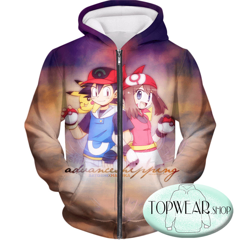 Pokemon Hoodies - Trainers Ash and May Zip Up Hoodie