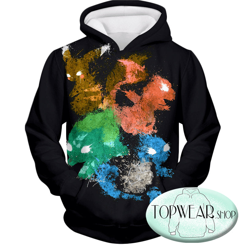 Pokemon Hoodies - First Generation Pokemons Spray Print Zip Up Hoodie