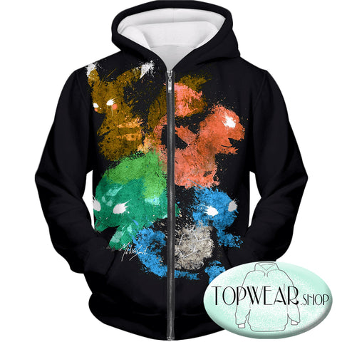 Image of Pokemon Hoodies - First Generation Pokemons Spray Print Zip Up Hoodie