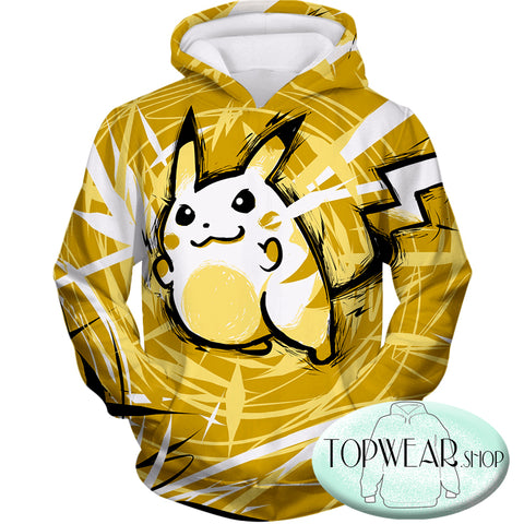 Image of Pokemon Hoodies - Thunder Pokemon Raichu Yellow Hoodie