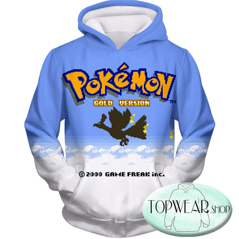 Image of Pokemon Hoodies - Pokemon Gold Version Game Zip Up Hoodie