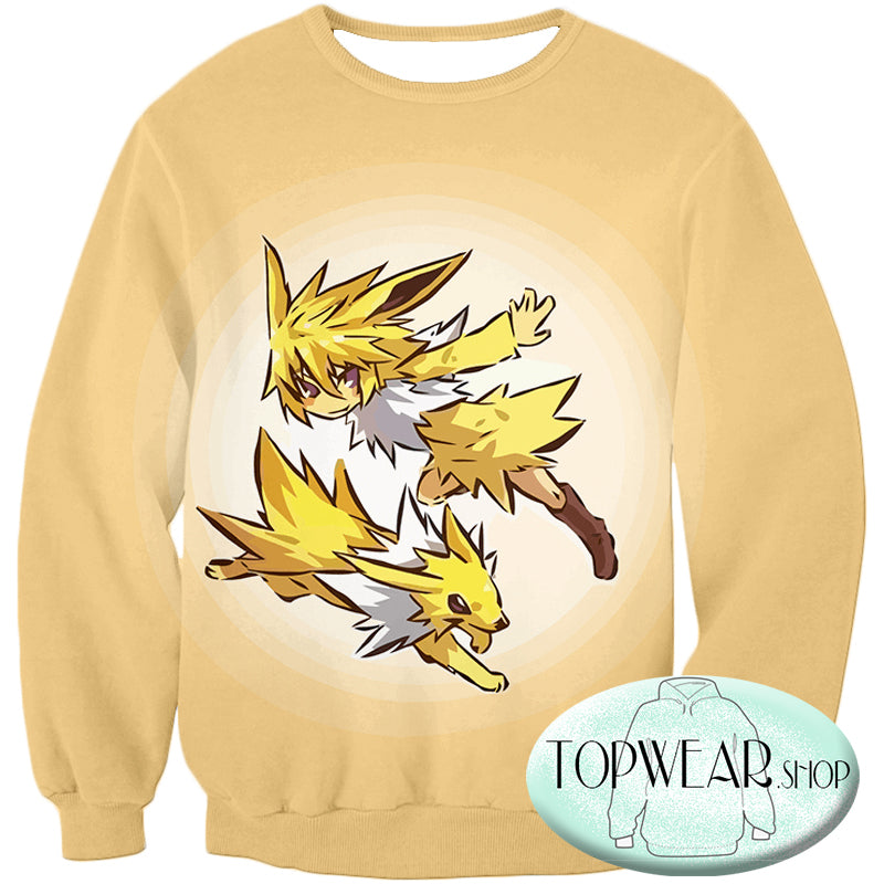 Pokemon Hoodies - Pokemon Jolteon and Trainer Hoodie