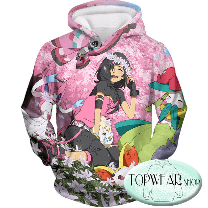 Pokemon Hoodies - Cute Girl with Pokemons Zip Up Hoodie