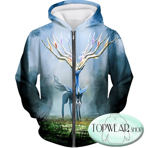 Image of Pokemon Hoodies - Very Cool Pokemon Xerneas Zip Up Hoodie