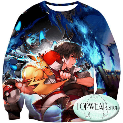 Image of Pokemon Sweatshirts - Pokemon Trainer Bond Ash 3D Sweatshirt