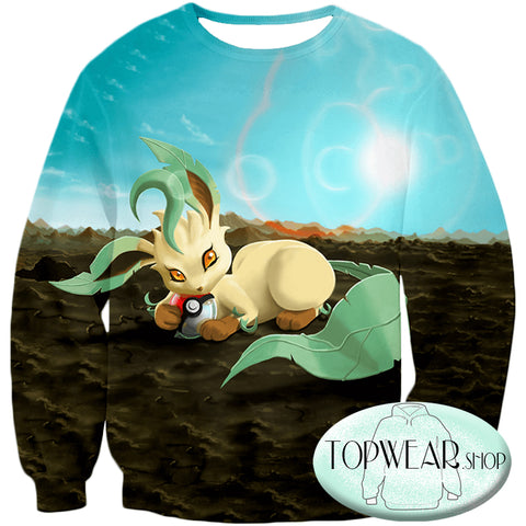 Image of Pokemon Hoodies - Wolf Grass Type Pokemon Leafeon Hoodie