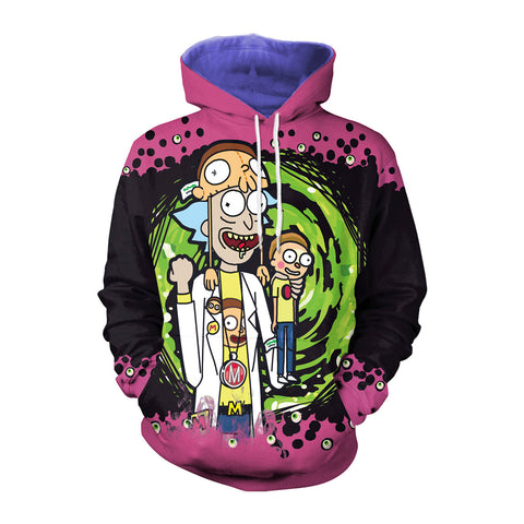 Image of Anime 3D Printed Rick and Morty Purple Hoodie