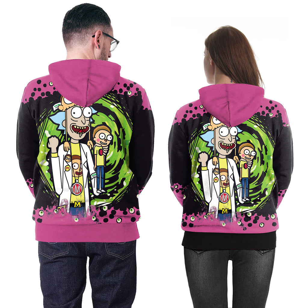 Anime 3D Printed Rick and Morty Purple Hoodie