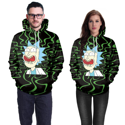 Image of 3D Print Anime Rick and Morty Green Hoodie