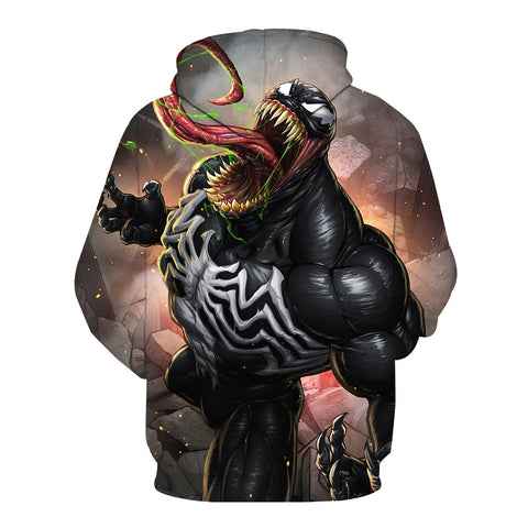 Image of Spiderman Hoodies - Black Venom Spiderman Series Super Cool 3D Hoodie
