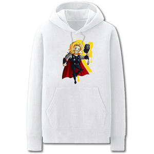 Thor Thor Hoodies - Solid Color Thor Thor Cartoon Style Cute Fleece Hoodie