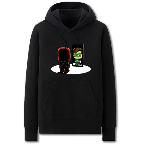 Image of Green Lantern and Deadpool Hoodies - Solid Color Green Lantern and Deadpool Cartoon Style Fleece Hoodie