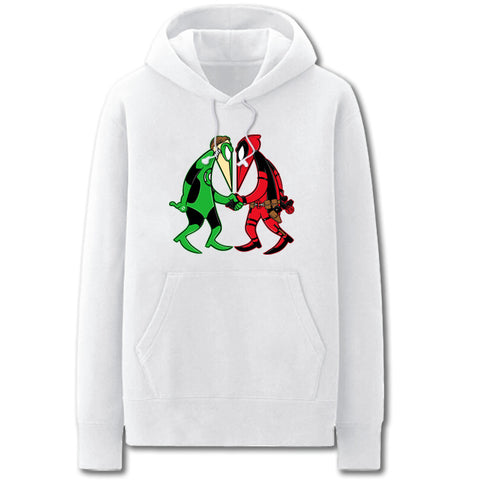 Green Lantern and Deadpool Hoodies - Solid Color Funny Green Lantern and Deadpool Cartoon Style Fleece Hoodie