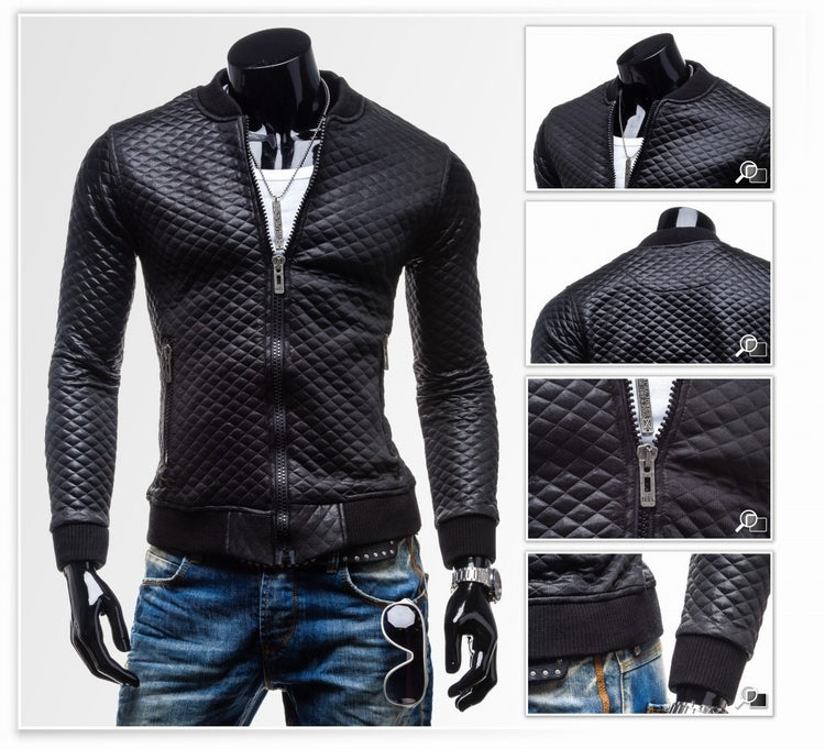 Solid Color Jackets- Zip Up Lingge Collar Black Genuine Leather Jacket