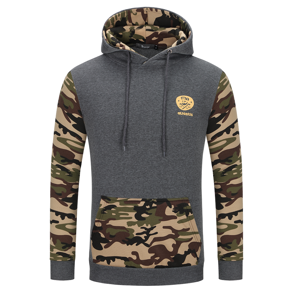 Camouflage Hoodies - Pullover Fleece White Black Hoodie