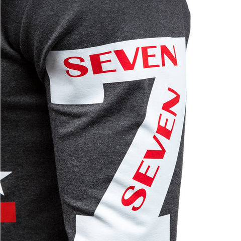 Image of Solid Color Letter Seven Printed Hoodies - Pullover Fleece Grey Black Hoodie