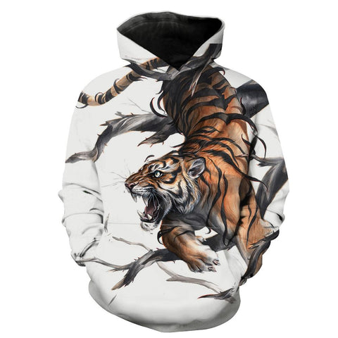 Image of Tiger Hoodies - Printed Tiger Pullover Hoodie
