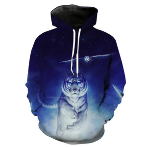 Tiger Hoodies - Space  and Owl Printed Pullover Hoodie