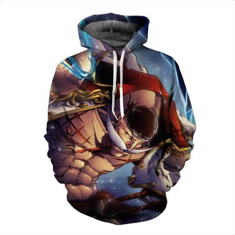 Image of White Beard On Rage One Piece 3D Hoodie