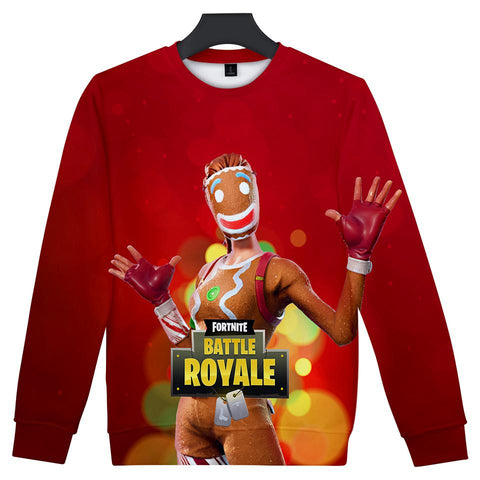 Fortnite Hoodies - Fortnite Game Christmas Series Super Cute Red 3D Hoodie