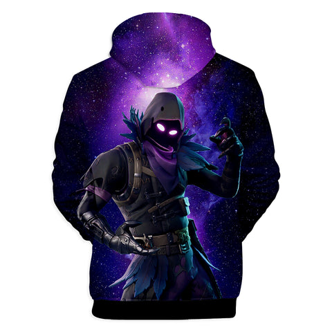 Image of Fortnite Hoodies - Raven Starry Background 3D Hoodie