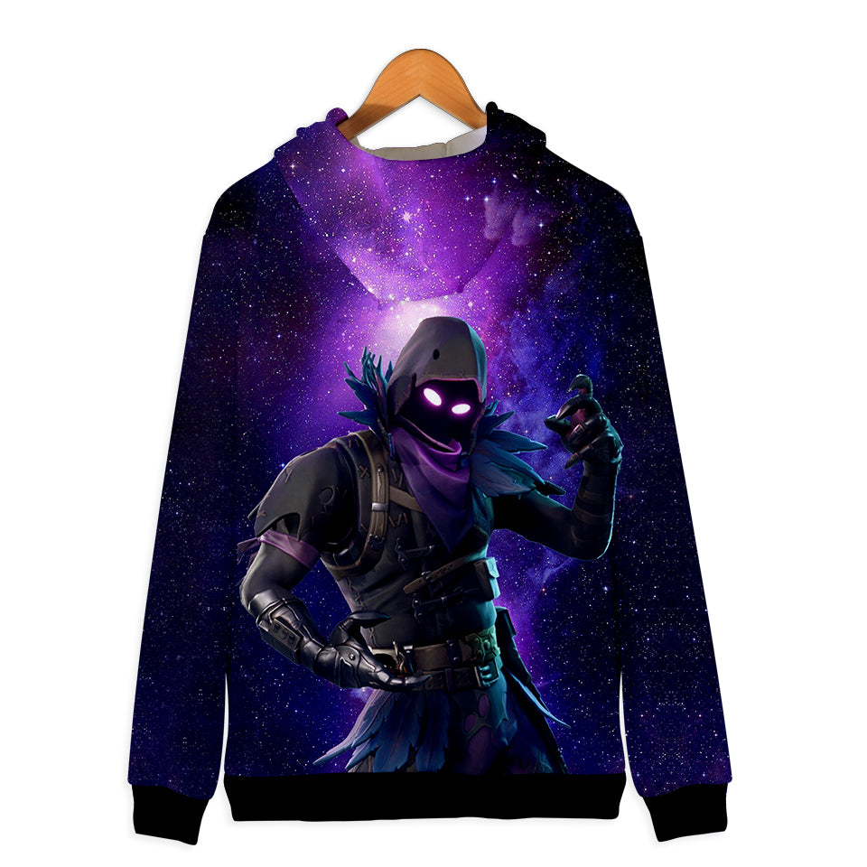 Fortnite Hoodies - Raven Starry Background 3D Zip Up Hoodie