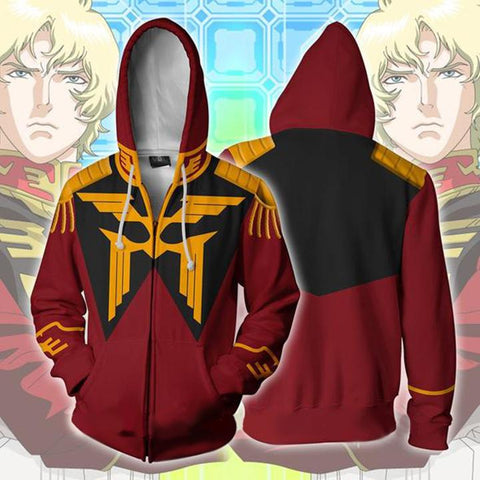 Image of Gundam Char Aznable Hoodies - Zip Up Red Mobile Suit Hoodie