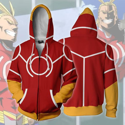 Image of My Hero Academia Hoodies - Cosplay All Might Silver Age Boku No Hero Academia Zip Up Hoodie