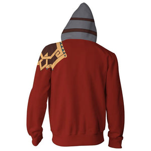 Final Fantasy X Auron Hoodies - Zip Up Red Hoodie