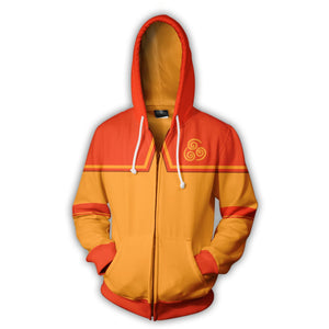 Avatar: The Last Airbender Aang Hoodies - Zip Up Orange Hoodie