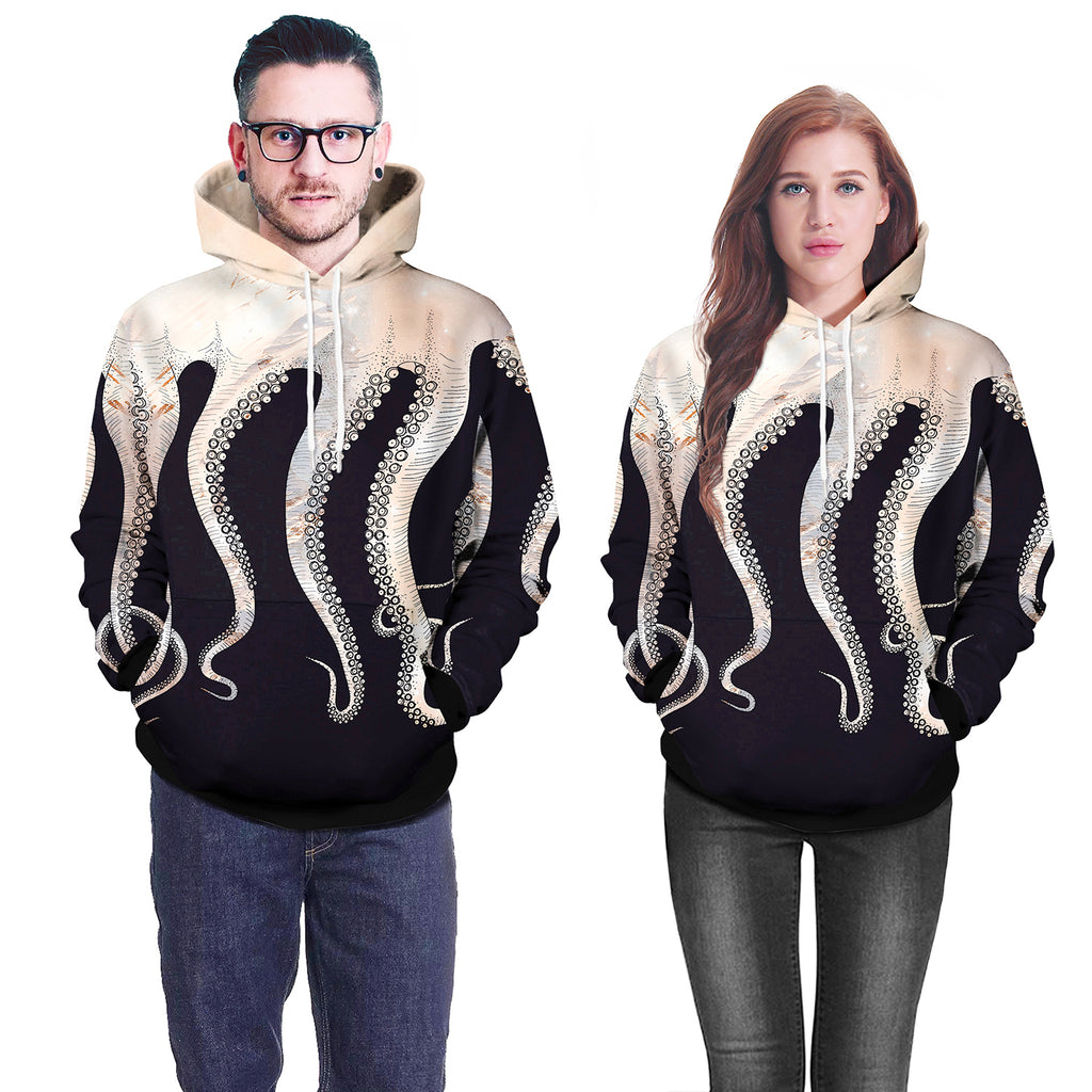 Big Octopus Feet Digital Print Gray 3D Hoodie