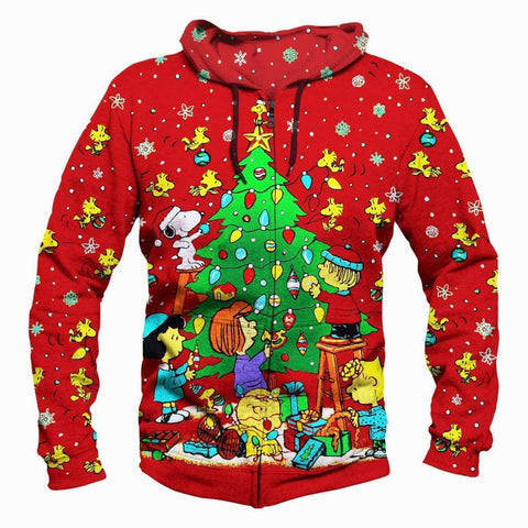 Christmas Decorating Hoodies - Pullover Red Snoopy Peanuts Hoodie