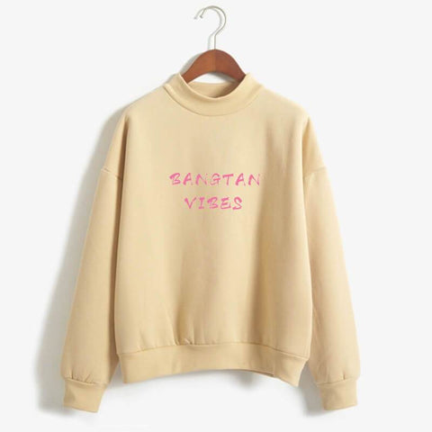 Image of BTS Sweatshirt - Bangtan Vibes Turtleneck Sweatshirt