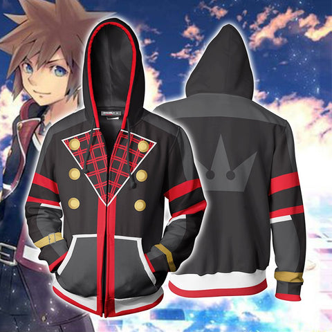 Kingdom Hearts III Sora Hoodies - Zip Up Black-red Cosplay Hoodie